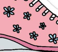 pink flower roller skates Sticker