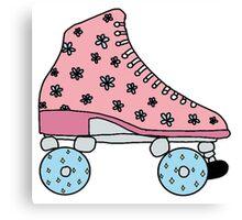 pink flower roller skates Canvas Print