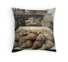 French croissants displayed in Paris bakery window. Throw Pillow