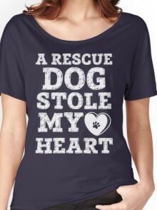 A Rescue Dog Stole My Heart Shirt - Dog Lover Shirts Women's Relaxed Fit T-Shirt