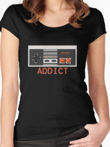 "NINTENDO ENTERTAINMENT SYSTEM (NES) ""NINTENDO ADDICT"" Women's Fitted Scoop T-Shirt"