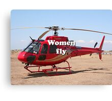 Women fly: Helicopter, red, aircraft Canvas Print
