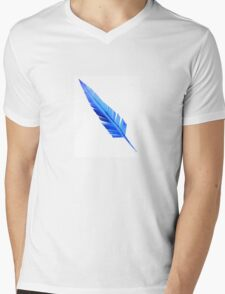 Handcrafted Blue Feather Mens V-Neck T-Shirt