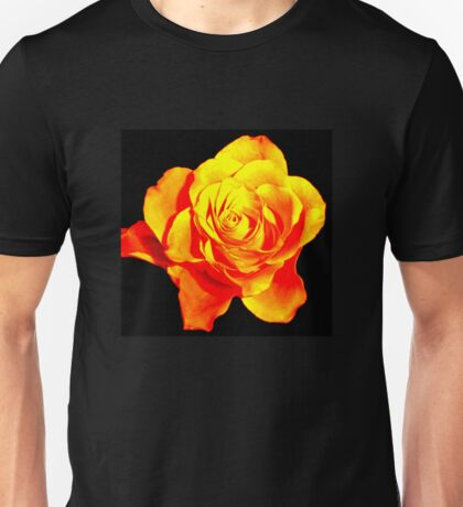 Golden Rose Tinged With Fire Unisex T-Shirt