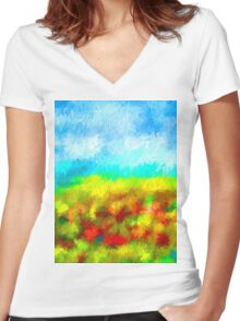 Summer Time Abstract - 1 Women's Fitted V-Neck T-Shirt