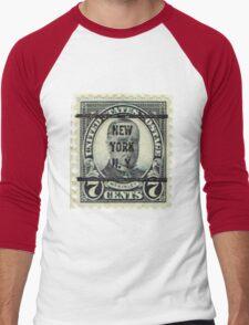 Antique Black NYC Stamp Men's Baseball ¾ T-Shirt
