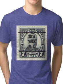 Antique Black NYC Stamp Tri-blend T-Shirt