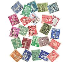 Vintage France Postage Stamp Collage Photographic Print