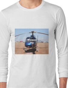Women fly: Helicopter, blue, aircraft Long Sleeve T-Shirt