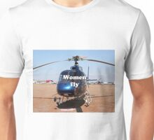 Women fly: Helicopter, blue, aircraft Unisex T-Shirt