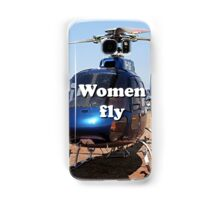 Women fly: Helicopter, blue, aircraft Samsung Galaxy Case/Skin