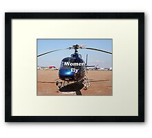 Women fly: Helicopter, blue, aircraft Framed Print