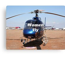Women fly: Helicopter, blue, aircraft Canvas Print