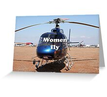 Women fly: Helicopter, blue, aircraft Greeting Card
