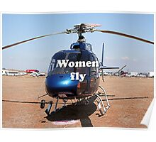Women fly: Helicopter, blue, aircraft Poster