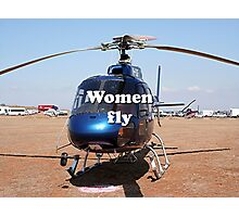 Women fly: Helicopter, blue, aircraft Photographic Print