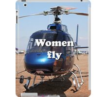 Women fly: Helicopter, blue, aircraft iPad Case/Skin
