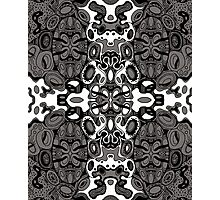 Miniature Aussie Tangle 13 Pattern in Grey and White Variation Photographic Print