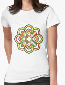 Circle. Green, Yellow and Red. Womens Fitted T-Shirt