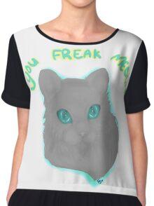 You Freak Meowt Cat Chiffon Top