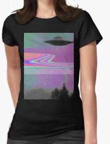 Psychedelic UFO Womens Fitted T-Shirt