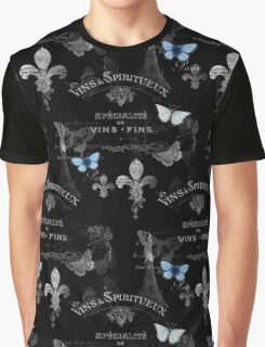 French Vins Black and White Collage Graphic T-Shirt