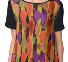 Seamless background pattern with colorful autumn leaves and berry illustration Chiffon Top