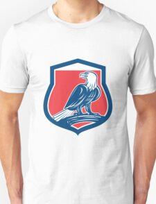 Bald Eagle Perching Shield Retro T-Shirt