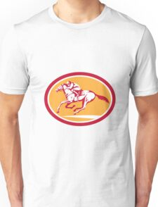 Jockey Riding Horse Racing Circle Retro Unisex T-Shirt