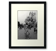 Two Young Girls with Balloons Framed Print