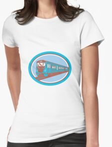 Passenger Train Front View Retro Womens Fitted T-Shirt