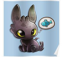hungry Baby Toothless Dragon Poster