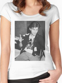 Young 80s Christian Slater  Women's Fitted Scoop T-Shirt