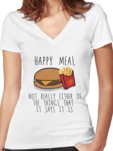 Lies of McDonalds Women's Fitted V-Neck T-Shirt