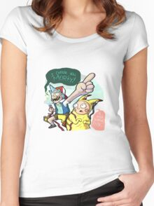 Rick And Morty Meet Pikachu Women's Fitted Scoop T-Shirt
