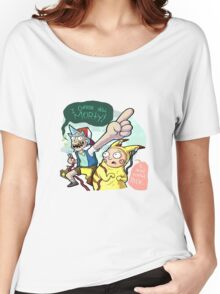 Rick And Morty Meet Pikachu Women's Relaxed Fit T-Shirt