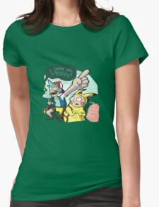 Rick And Morty Meet Pikachu Womens Fitted T-Shirt