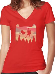 Adventure Time water colour Women's Fitted V-Neck T-Shirt