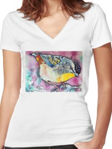 Spotted Pardalote Women's Fitted V-Neck T-Shirt