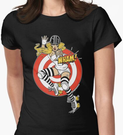WHAM! Roller Derby, Comic, pinup Womens Fitted T-Shirt