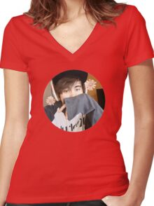 LeafyisHere Cute Women's Fitted V-Neck T-Shirt