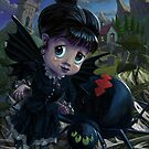 Goth girl fairy with spider widow by martyee