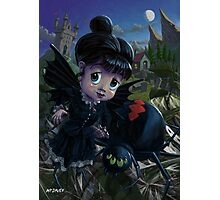 Goth girl fairy with spider widow Photographic Print