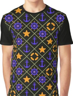 Seamless nautical pattern with sea theme elements print Graphic T-Shirt