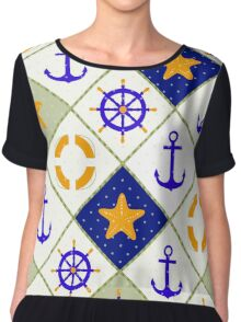 Seamless nautical pattern with sea theme elements print Chiffon Top