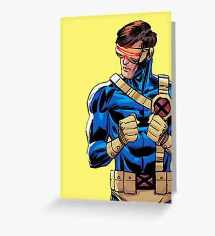 X Men Cyclops Yellow Greeting Card