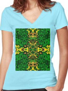 Miniature Aussie Tangle 13 Pattern in Green and Gold Colours Women's Fitted V-Neck T-Shirt