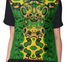 Miniature Aussie Tangle 13 Pattern in Green and Gold Colours Chiffon Top