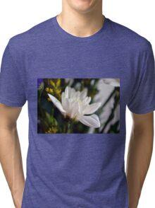 White flower macro. Tri-blend T-Shirt