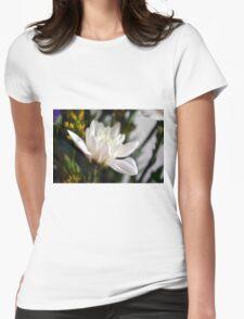 White flower macro. Womens Fitted T-Shirt